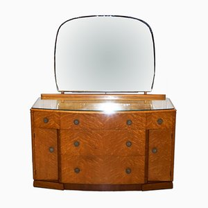 Birdseye Maple Dressing Table with Glass Top & Mirror by Tudor Rose, 1920s