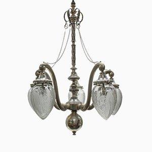 Silberne antike viktorianische Hängelampe