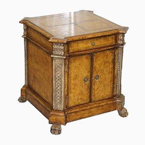 Antiker Schrank mit Ledereinlage & Füßen in Löwenpfoten-Optik im Regency-Stil