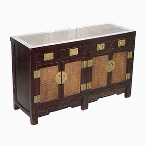 Large Antique Chinese Qing Dynasty Sideboard with Rattan Weaved Detailing