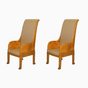 Vintage Leather & Solid Walnut Throne Armchairs with Lion Paw Feet, Set of 2