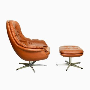 Set with Leather Swivel Lounge Chair & Ottoman, 1960s