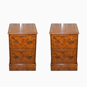 Antique Burr Walnut Filing Cabinets from Brights of Nettlebed, Set of 2