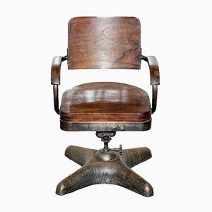 Industrieller Bürostuhl mit Gestell aus Stahl, 1920er