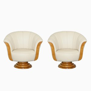 Art Deco Maple & Leather Tulip Armchairs, 1920s, Set of 2
