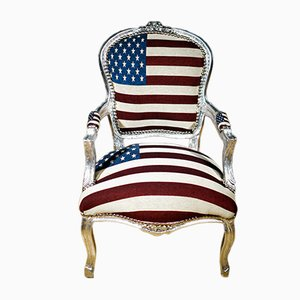 Silver Armchair with USA Flag Jeans Upholstery, 1930s