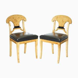 Swedish Biedermeier Satin Birch Occasional Chairs, Set of 2