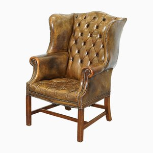 Buttoned Leather Chesterfield Wingback Armchair, 1930s
