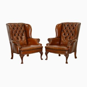 Cigar Brown Leather Chesterfield Wingback Armchairs, 1930s, Set of 2
