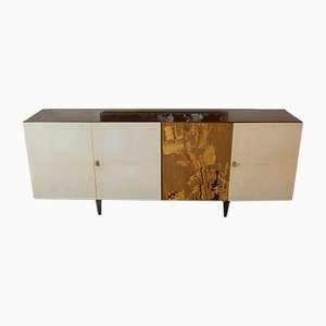 Italian Oak & Parchment Sideboard with Brass Details, 1950s