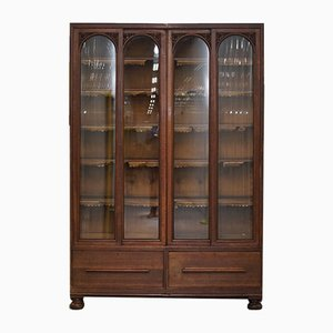 Tall Antique English Oak Bookcase