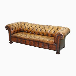 Vintage Brown Leather Chesterfield Club Sofa