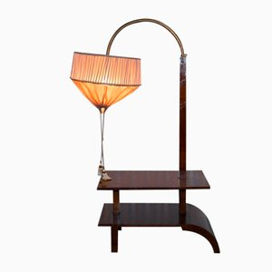 Art Deco Walnut Side Table with Height Adjustable Light, 1920s