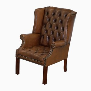 Vintage Brown Leather Buttoned Chesterfield Wingback Armchair
