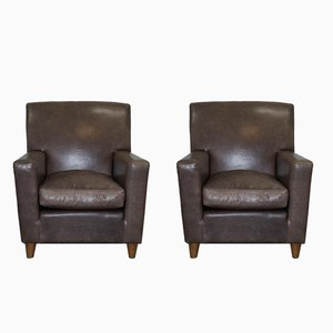 Italian Grey Leather Armchairs by Terence Conran, 1980s, Set of 2
