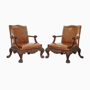 Antique Brown Leather & Carved Wood Chippendale Armchairs, Set of 2