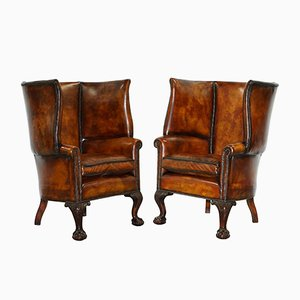 Antique Brown Leather Wingback Armchairs, Set of 2