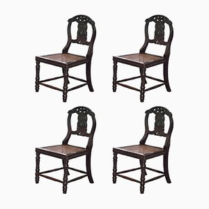 19th-Century Chinese Ebonized & Carved Wood Dragon Dining Chairs, Set of 4