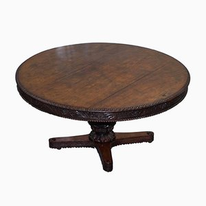 19th-Century Anglo-Indian Hand-Carved Padouk Center Table