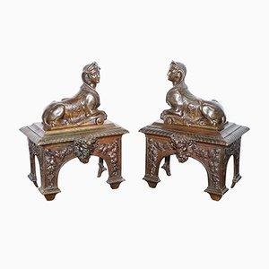 Französische Louis XVI Ständer mit liegenden Sphinxen aus Bronze, 2er Set