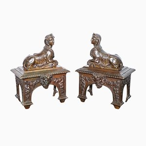 Louis XVI French Bronze Chenets with Recumbent Sphinxes, Set of 2