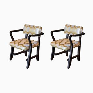 French Bridge Armchairs by Guillerme et Chambron, 1950s, Set of 2