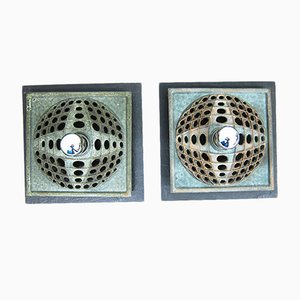 Ceramic & Slate Wall Lights, 1960s, Set of 2