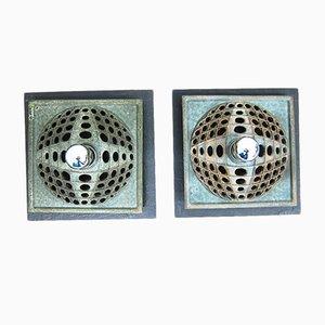 Lámparas de pared de cerámica y pizarra, años 60. Juego de 2