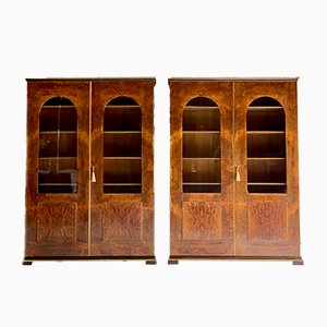 Burr Walnut Bookcase Cabinets by Tomaso Buzzi, 1920s, Set of 2