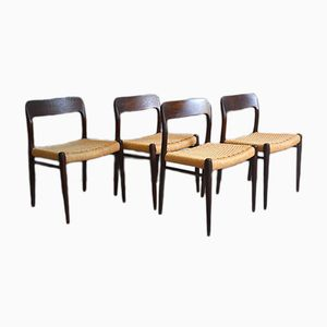 Model 75 Dining Chairs by Niels Otto Møller for J.L. Møllers, 1960s, Set of 4