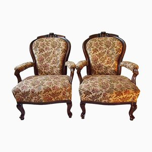 19th Century Walnut Armchairs, Set of 2