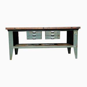 Metal & Mahogany Worktable, 1960s