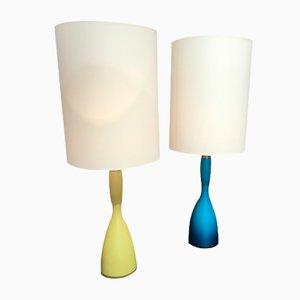 Italian Glass Lamps, 1970s, Set of 2