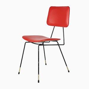 Italienische Beistellstühle aus Metall & Skai, 1950er, 2er Set