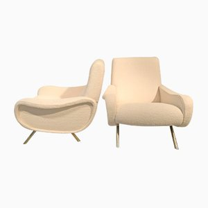 Mid-Century Bouclette Lady Chairs, Set of 2
