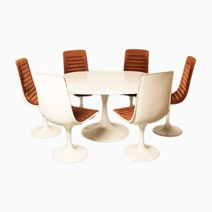White Indes Collection Set with Table and 6 chairs from Lübke, 1972