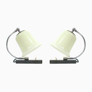 Art Deco Marble, Chrome & Glass Table Lamps, 1930s, Set of 2
