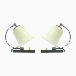 Lampade da tavolo Art Deco in marmo, metallo cromato e vetro, anni '30, set di 2