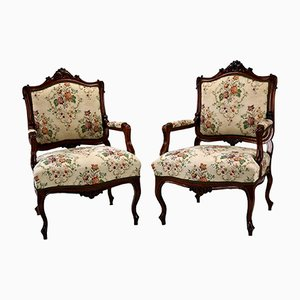Louis XV Rococo Style Carved Walnut Armchairs, 1860s, Set of 2