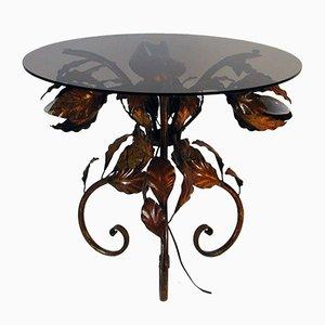 Tavolino in metallo bronzato e vetro tinto, Italia, anni '50