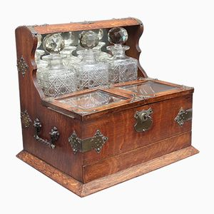 19th Century Oak and Silver Plated Tantalus