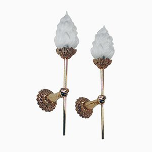 Mid-Century French Brass & Glass Torchiere Wall Sconces, Set of 2