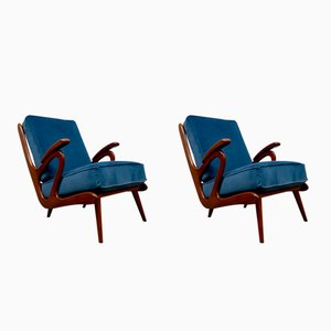 Mid-Century Dutch Blue Velvet Armchairs, 1950s, Set of 2