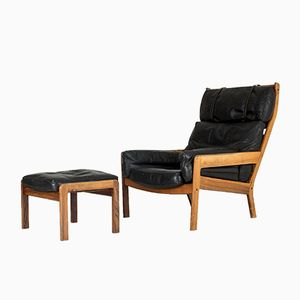 Swedish Set with Lounge Chair & Ottoman, 1960s