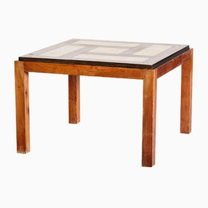 Coffee Table with Geometric Wood and Ceramic Inlay, 1950s