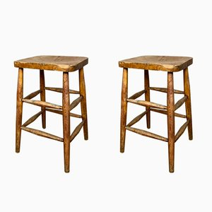 English Mid-Century School Stools, Set of 2
