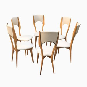 Italian Cherry & Ivory Skai Dining Chairs, 1950s, Set of 6
