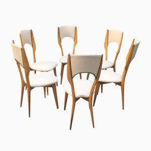Italienische Esszimmerstühle aus elfenbeinfarbenem Skai & Kirschholz, 1950er, 6er Set