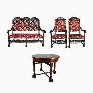 Antikes französisches Set aus Thron und Sitzen aus Nussholz