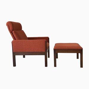 Vintage AP62 Sessel mit hoher Rückenlehne und Fußhocker von Hans Wegner für AP Stolen, 1960er